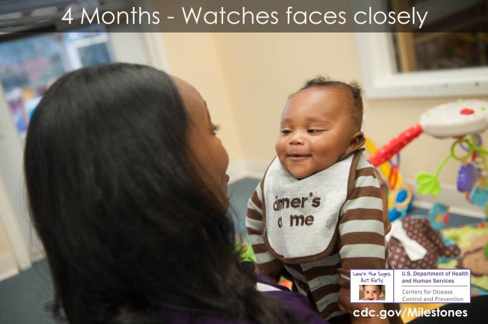 Photo of 4 month-old: Watches faces closely