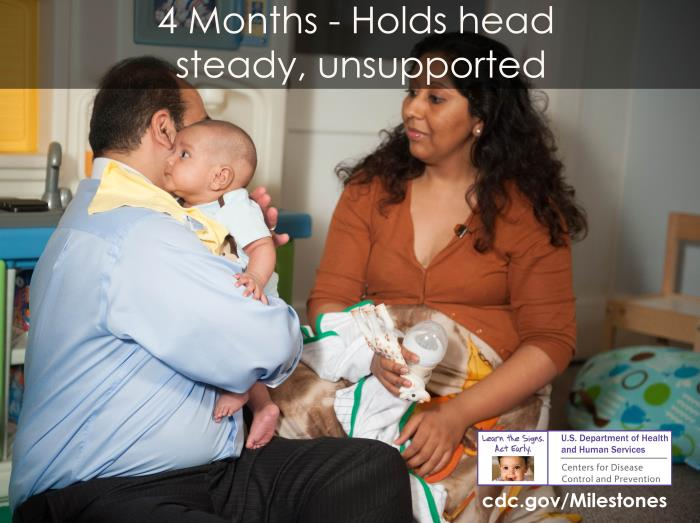 Photo of 4 month-old: Holds head steady, unsupported