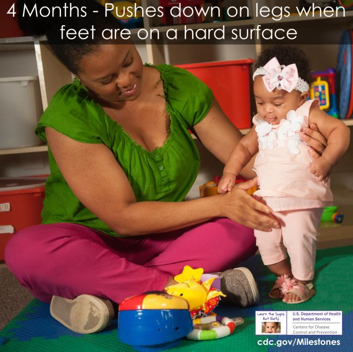 Photo of 4 month-old: Pushes down on legs when feet are on a hard surface