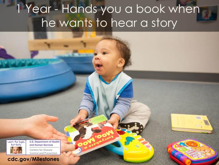Hands you a book when he wants to hear a story