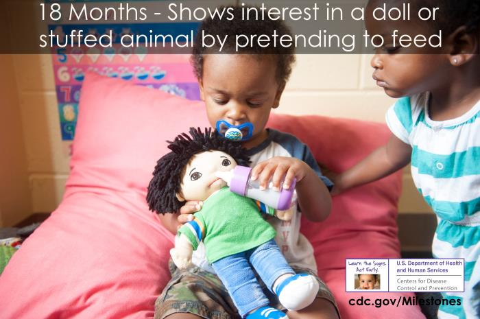 Shows interest in a doll or stuffed animal by pretending to feed