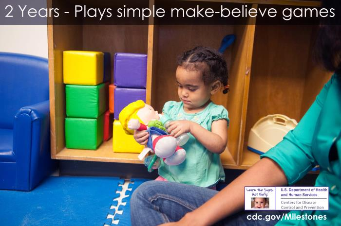 Plays simple make-believe games