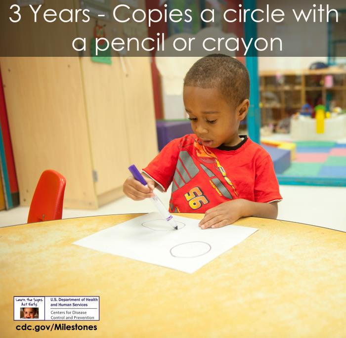 Copies a circle with pencil or crayon