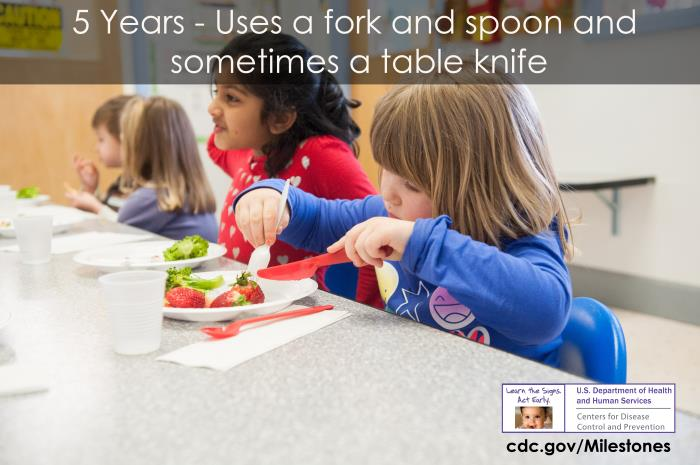 Uses a fork and spoon and sometimes a table knife